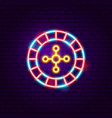 casino roulette neon sign vector image vector image