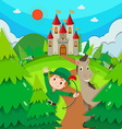 Castle scene with hunter and horse vector image vector image