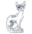 cat with mechanical parts body hand drawn vector image
