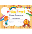 certificate template for writing award with girl