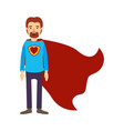 colorful image caricature full body super dad hero vector image