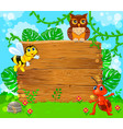 cute ant bee and owl near empty wooden banner vector image