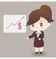 cute cartoon or mascot businesswoman points vector image vector image
