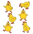 Cute chicken cartoon set vector image vector image