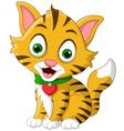 cute little cat cartoon posing vector image vector image