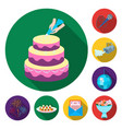event organisation flat icons in set collection vector image vector image