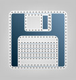 floppy disk sign blue icon with outline vector image vector image