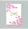 floral sakura tree branches border around golden vector image vector image