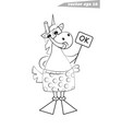 funny cartoon outlined unicorn snorkeler with mask vector image vector image