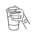 girl holding a cup coffee monochrome vector image vector image