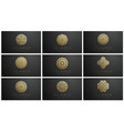 gold islamic logo set on dark background ramadan vector image