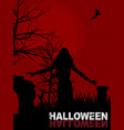 halloween background with female zombie and text vector image vector image