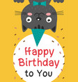 happy birthday card with black cat vector image vector image