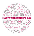 happy valentines day round in vector image vector image