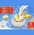 instant oatmeal with pear ad milk flowing in bowl vector image vector image