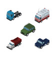isometric car set of armored truck freight and vector image vector image