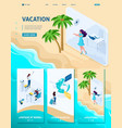 isometric girl does from office to vacation vector image