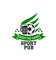 live soccer game sports beer pub icon vector image vector image