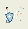 medical worker reflect bacteria attack with shield vector image vector image