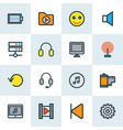 music icons colored line set with backward media vector image vector image