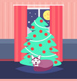 night living room decorated merry christmas happy vector image vector image