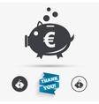 Piggy bank sign icon Moneybox symbol vector image vector image