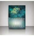 Polygonal 2016 calendar design for april month vector image vector image