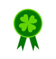 Round award with clover leaf and ribbons vector image vector image