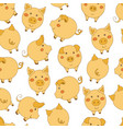 seamless pattern with cute cartoon yellow pigs on vector image vector image