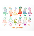 set colored doodle christmas trees on white vector image vector image