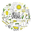 set hand drawn spring flowers and garden tools vector image