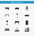 set of 12 editable furniture icons includes vector image