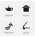 set of 4 editable cook icons includes symbols vector image vector image