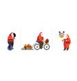 set santa claus riding mono wheel cycling vector image vector image