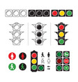 set stylized of traffic light with vector image vector image