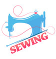 sewing machine and thread silhouette vector image vector image