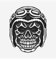 skull rider in helmet with goggles vector image vector image