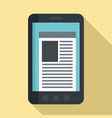 smartphone newspaper icon flat style vector image vector image