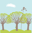spring landscape with trees birds and birdhouse vector image vector image