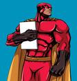 superhero holding book vector image vector image