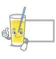thumbs up with board lemonade character cartoon vector image vector image