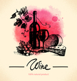 Wine vintage background Watercolor hand drawn vector image vector image