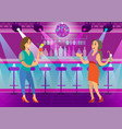 women drinking cocktails in nightclub dance floor vector image vector image
