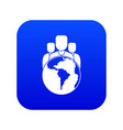 world planet and people icon digital blue vector image