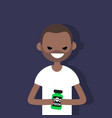 young angry black character holding a bottle with vector image vector image