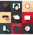 Set of colored icons on a theme of sleep in a flat vector image