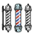 barbershop pole three style vintage objects vector image