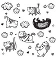 cat funny characters collection vector image vector image