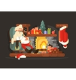 Character Santa Claus on chair near fireplace vector image