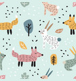 Childish seamless pattern with cute bunny and fox